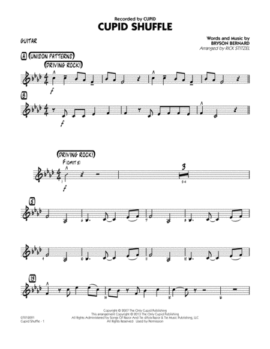 Cupid Shuffle - Guitar