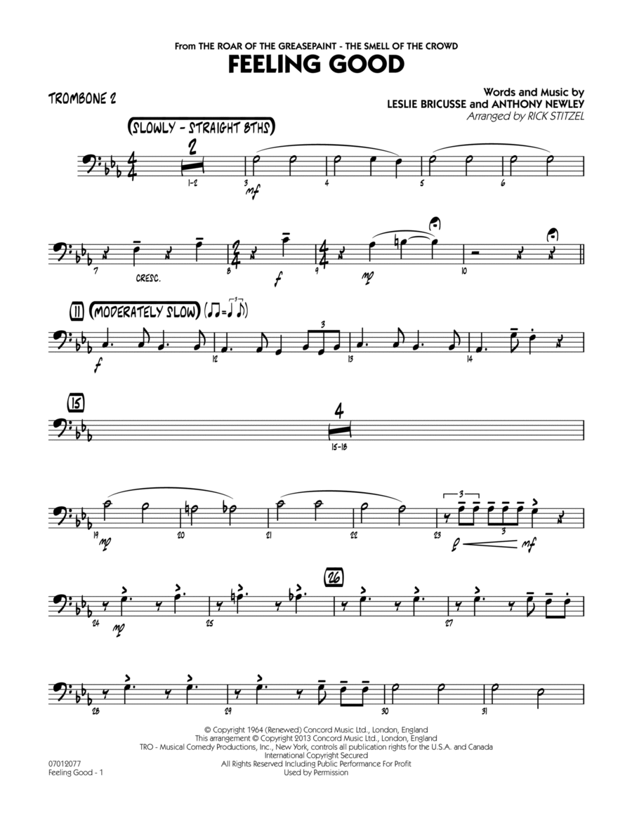 Feeling Good - Trombone 2