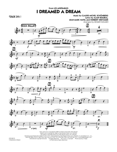 I Dreamed a Dream (from Les Miserables) - Tenor Sax 1