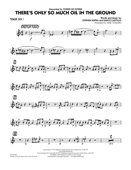 There's Only So Much Oil in the Ground - Tenor Sax 1