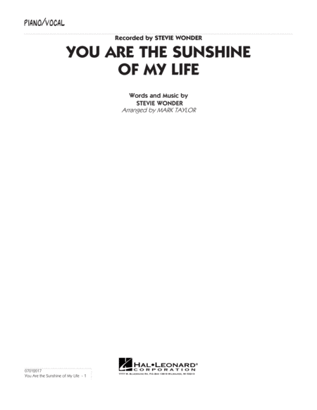 You Are the Sunshine of My Life (Key: C) - Piano/Vocal