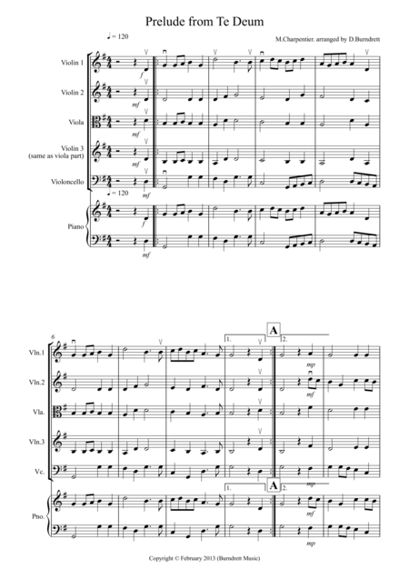 Prelude from Te Deum for String Quartet
