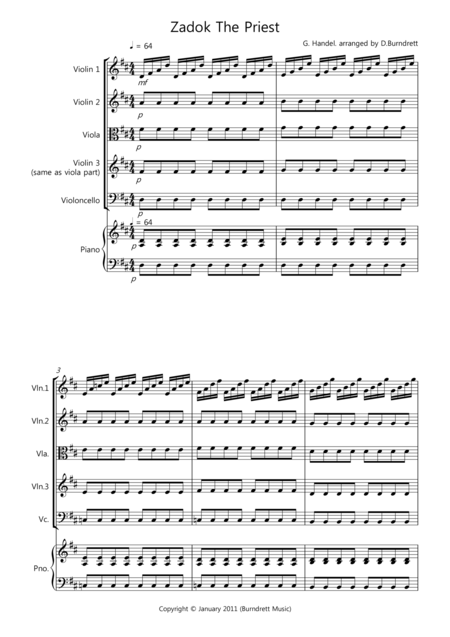 Zadok The Priest for String Quartet