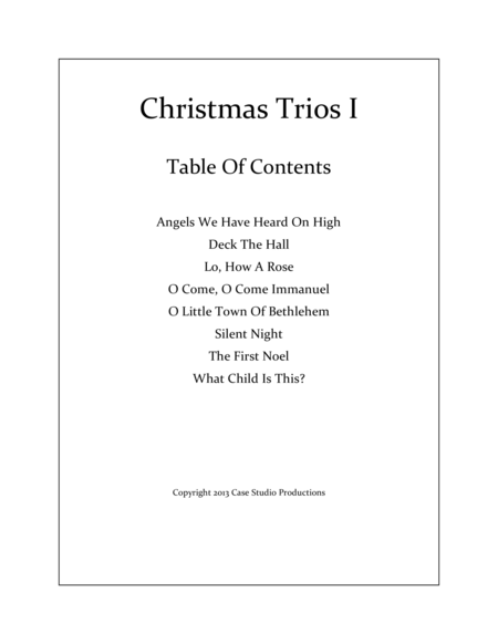 Christmas Trios I - violin, viola, cello