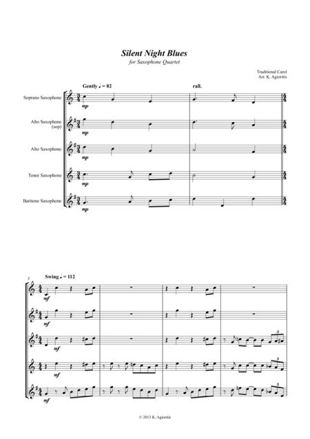 Silent Night Blues - for Saxophone Quartet