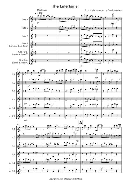 The Entertainer for Flute Quartet
