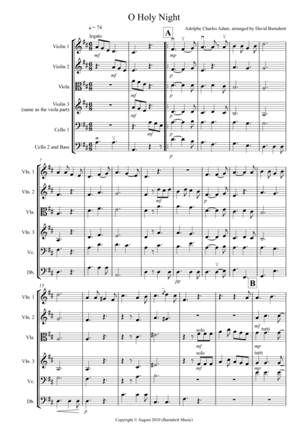 O Holy Night for String Orchestra