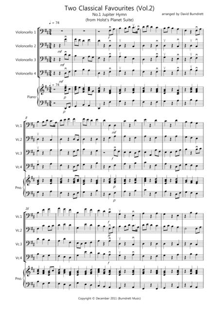 2 Classical Favourites for Cello Quartet (volume two)