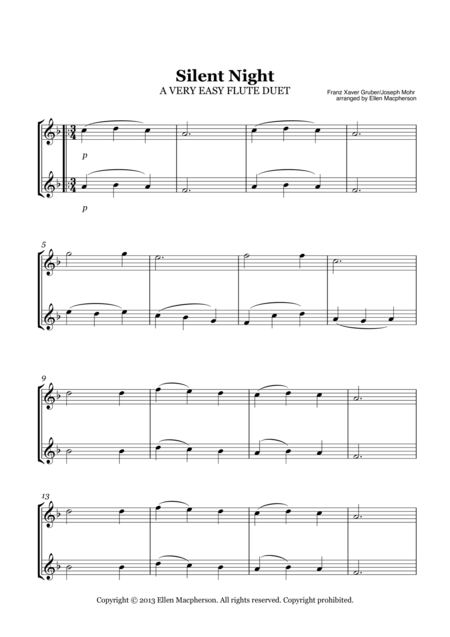 Silent Night - A Very Easy Christmas Duet for Two Flutes