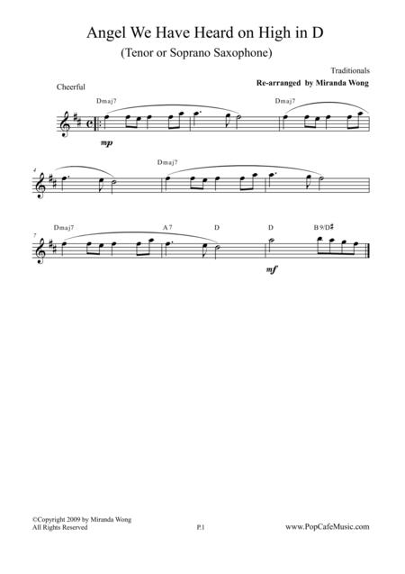 Angel We Have Heard on High - Tenor or Soprano Sax Key + Concert Key