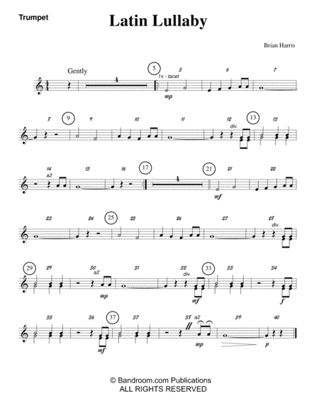 LATIN LULLABY (beginner concert band - very easy - score, parts, and license to photocopy)