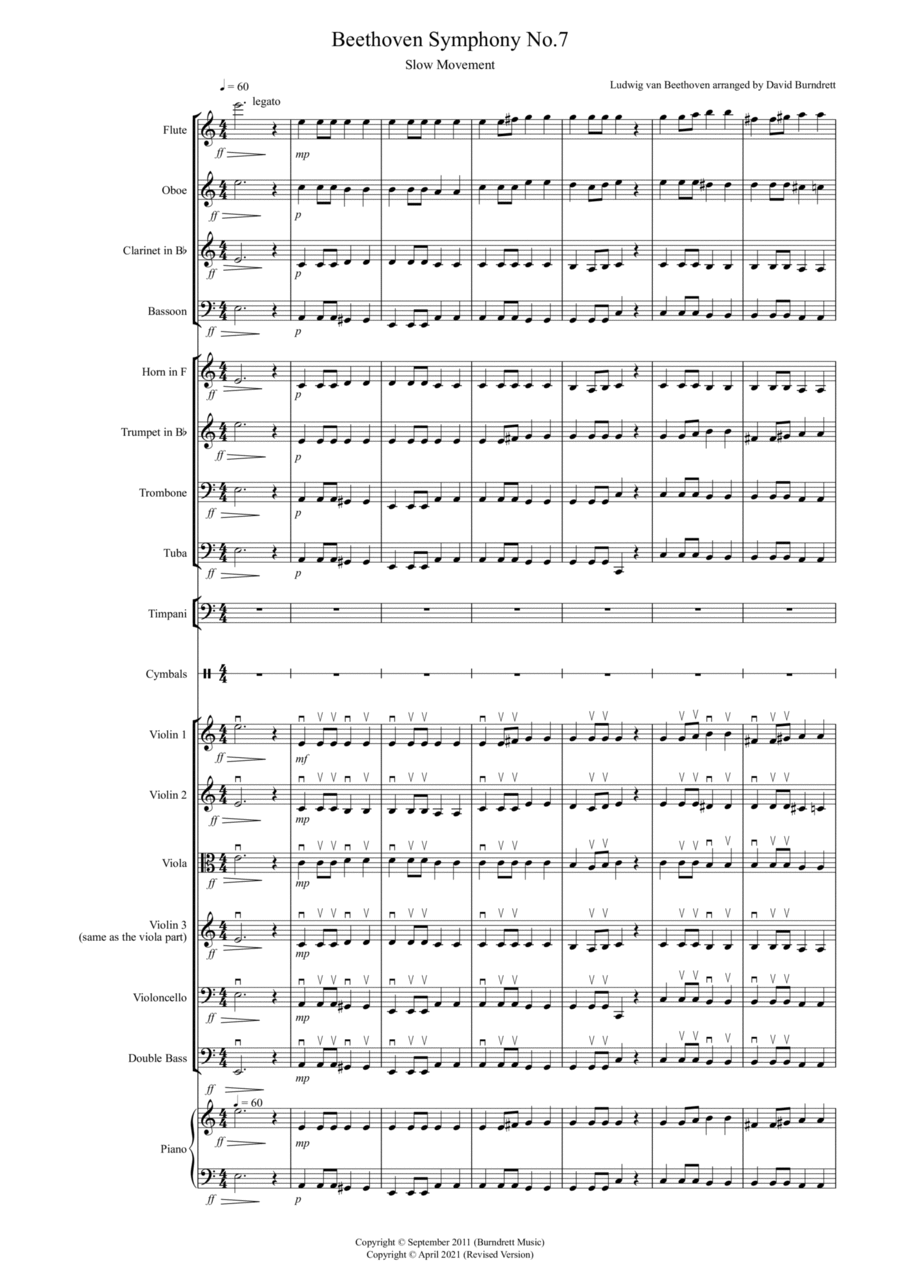 Beethoven Symphony No.7 (slow movement) for School Orchestra