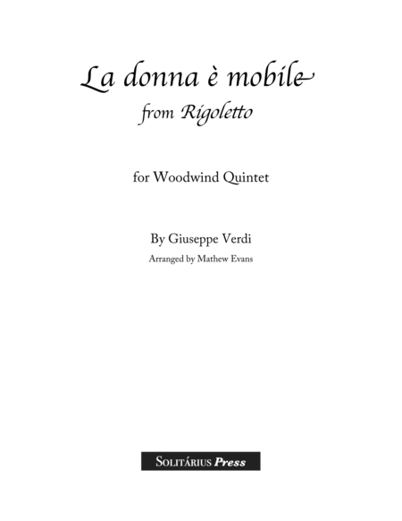 La Donna Mobile for Wind Quintet