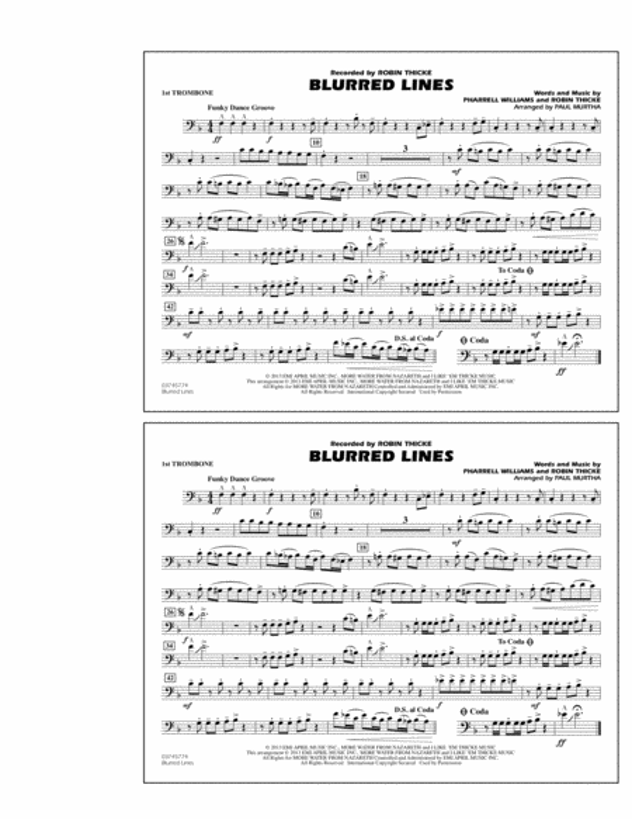 Blurred Lines - 1st Trombone