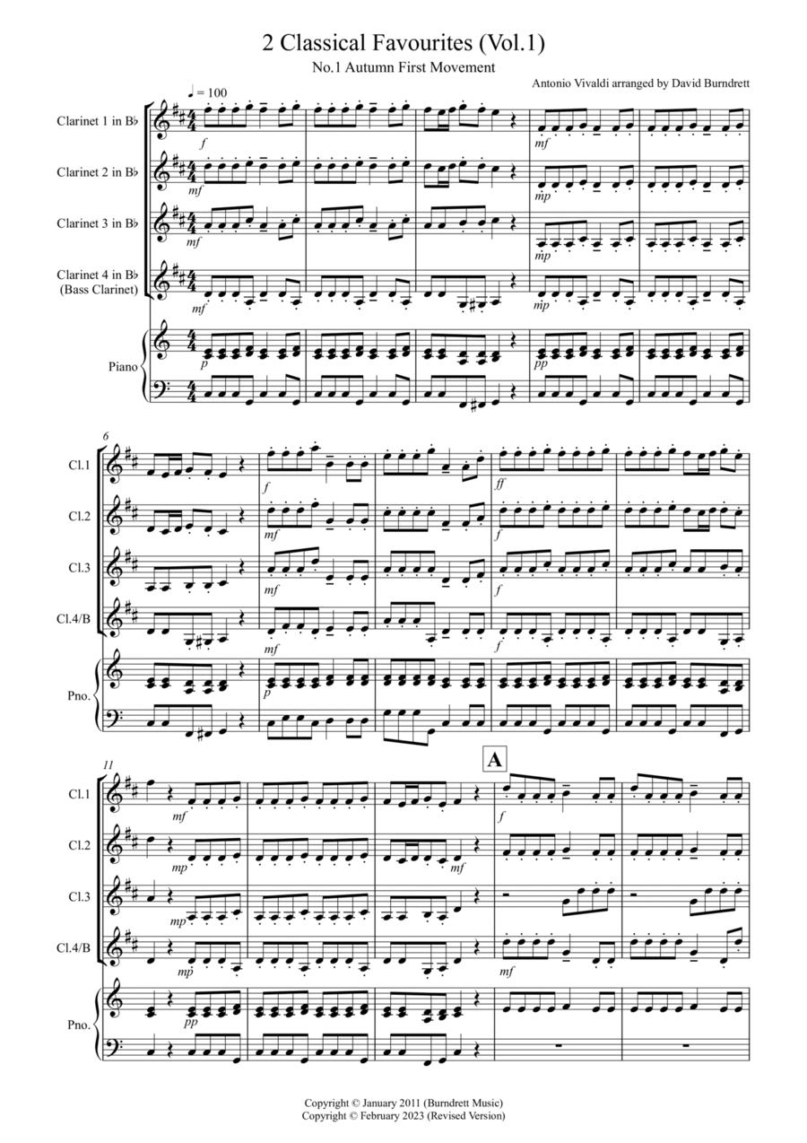 2 Classical Favourites for Clarinet Quartet (volume one)