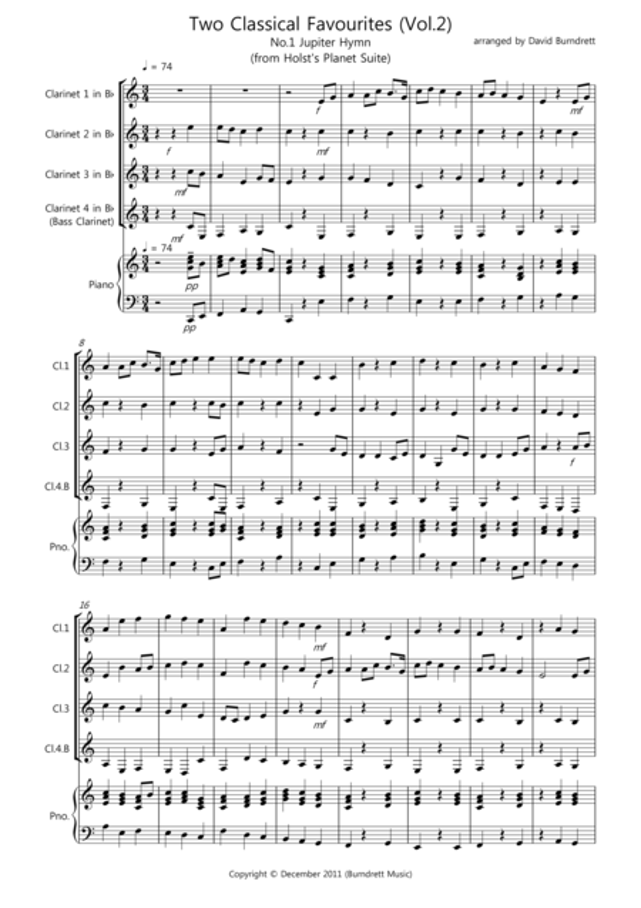 2 Classical Favourites for Clarinet Quartet (volume two)