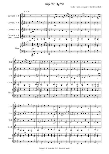 Jupiter Hymn for Clarinet Quartet