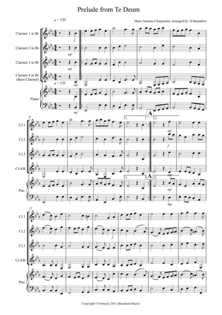 Prelude from Te Deum for Clarinet Quartet