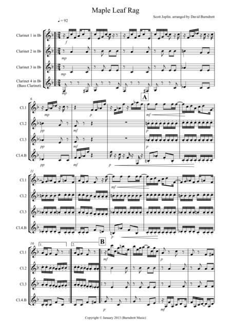 Maple Leaf Rag for Clarinet Quartet