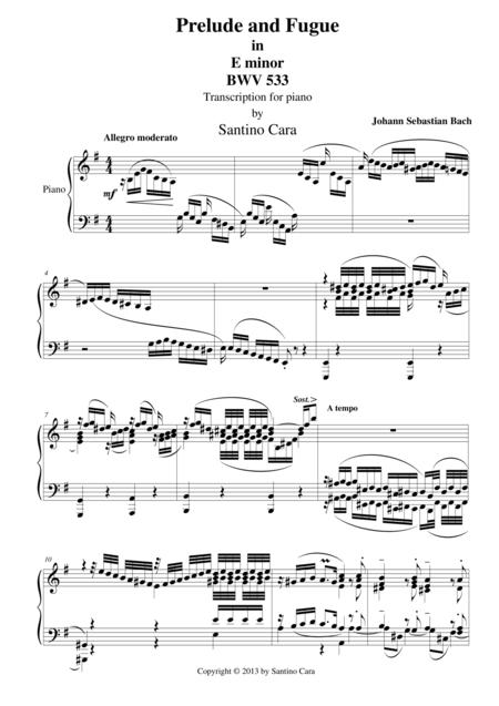 Prelude and Fugue in E minor for piano - BWV533