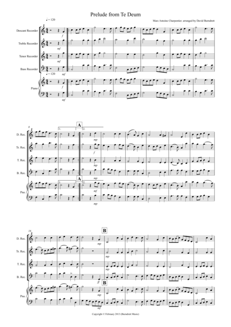 Prelude from Te Deum for Recorder Quartet