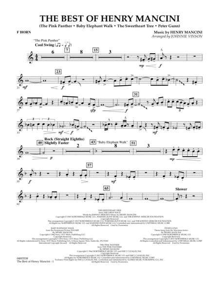 The Best of Henry Mancini - F Horn