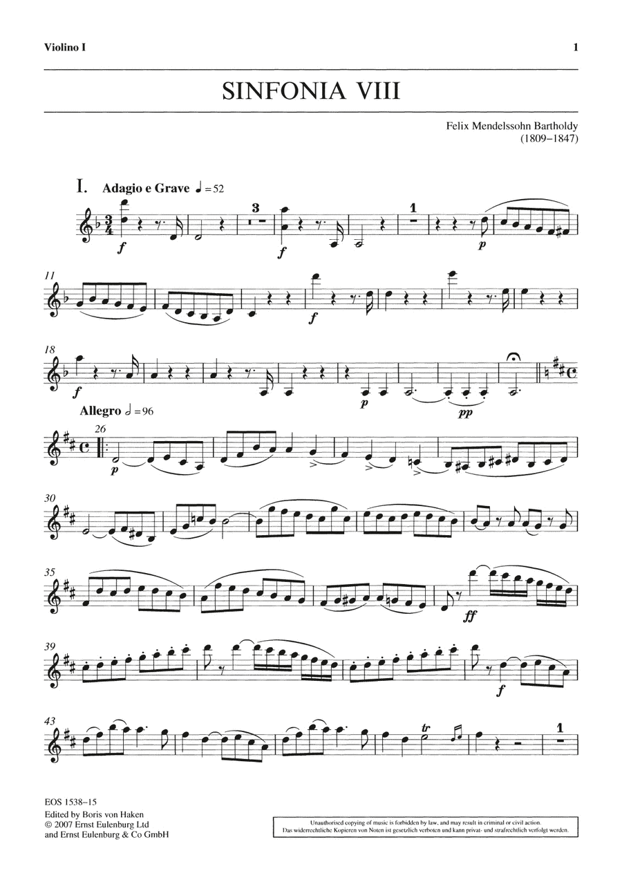Sinfonia VIII D-Dur