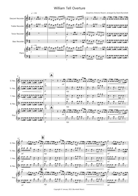 William Tell Overture for Recorder Quartet