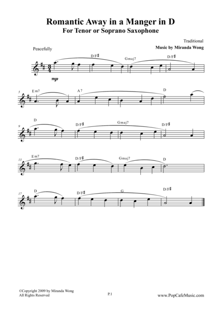 Romantic Away in a Manger - Tenor or Soprano Saxophone Solo
