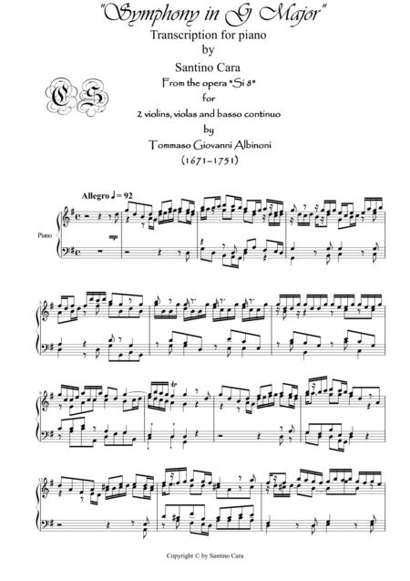 Albinoni - Sinfonia in G major-Si8- for piano - S.Cara