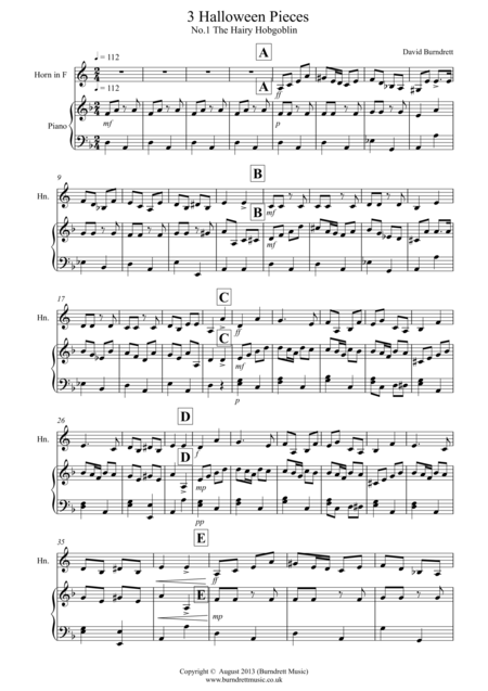 3 Halloween Pieces for French Horn and Piano