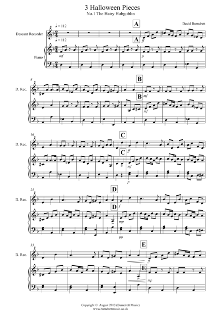 3 Halloween Pieces for Descant Recorder and Piano