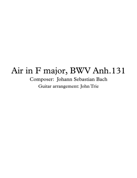 Air in F major, BWV Anh 131