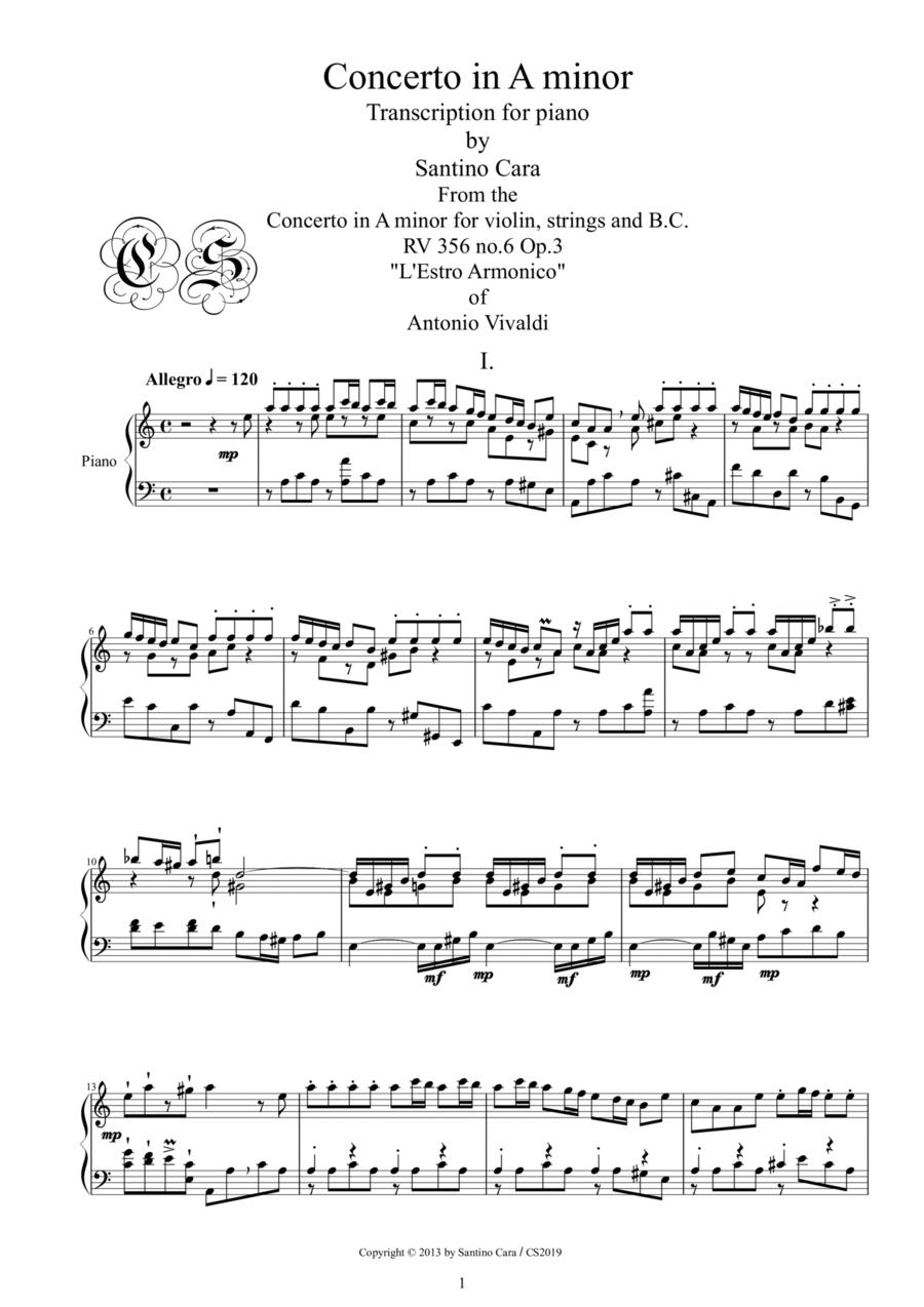 A.Vivaldi-Concerto in A minor (Rv 365) transcription for piano