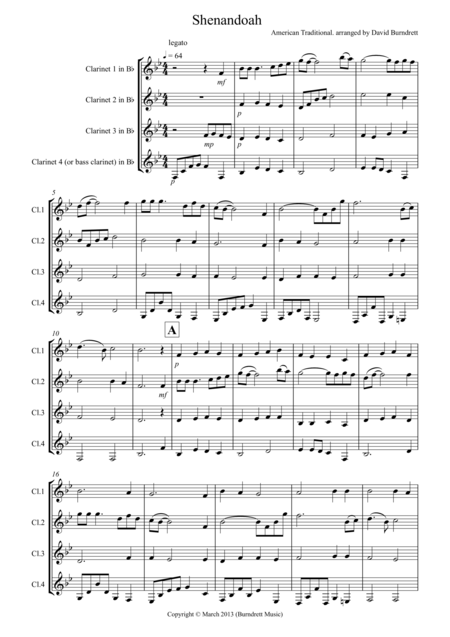 Shenandoah for Clarinet Quartet