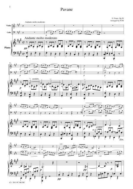 Faure  Pavane(Violin, Cello & Piano)