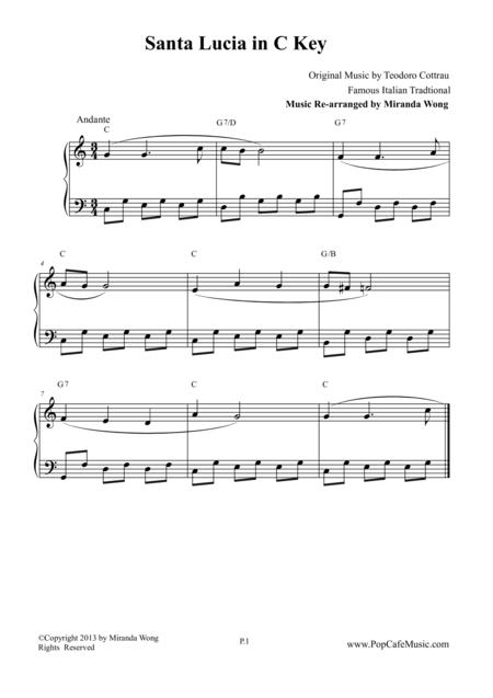 Santa Lucia - Piano Solo in C Key