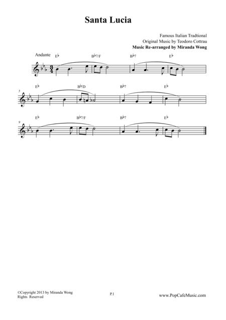 Santa Lucia in Eb - Violin or Flute Solo