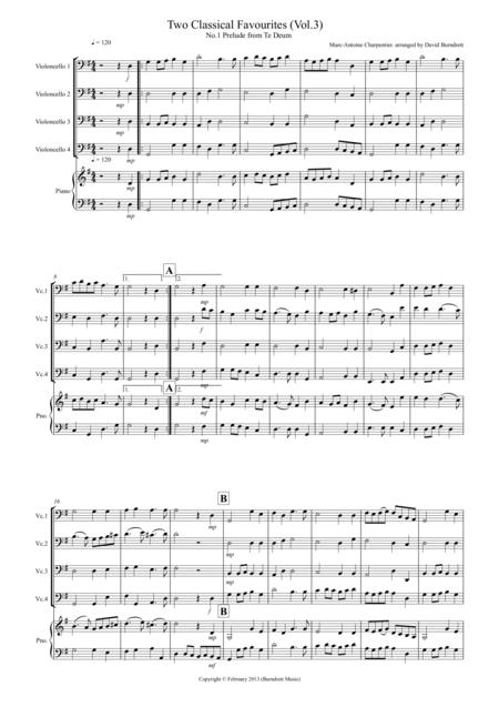 2 Classical Favourites for Cello Quartet (volume three)