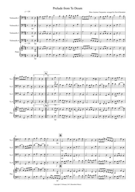 Prelude from Te Deum for Cello Quartet