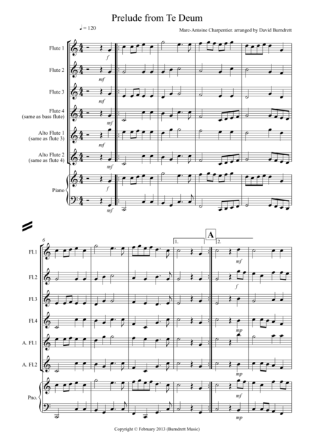 Prelude from Te Deum for Flute Quartet