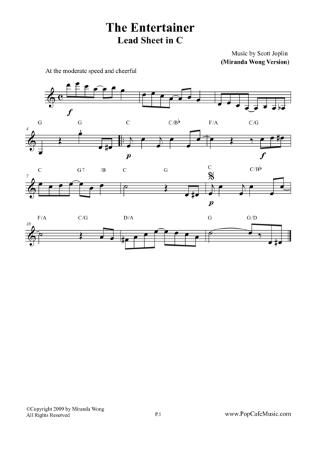 The Entertainer - Lead Sheet in C Key