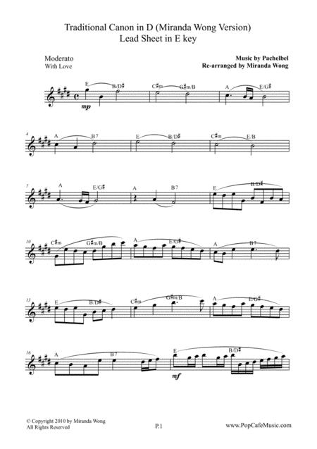 Traditional Canon in D - Oboe or Piccolo Solo in E