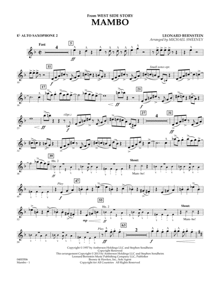 Mambo (from West Side Story) - Eb Alto Saxophone 2