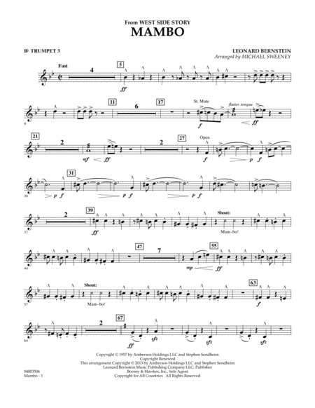 Mambo (from West Side Story) - Bb Trumpet 3