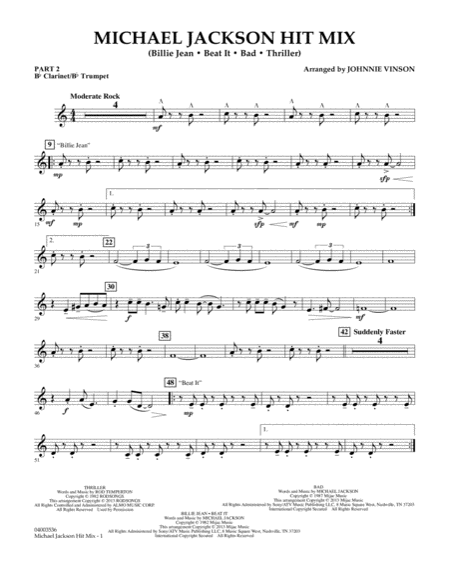 Michael Jackson Hit Mix - Pt.2 - Bb Clarinet/Bb Trumpet