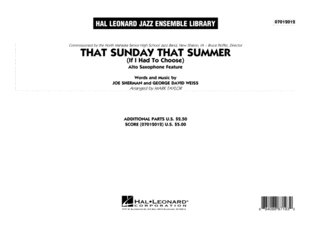 That Sunday That Summer (If I Had to Choose) - Conductor Score (Full Score)
