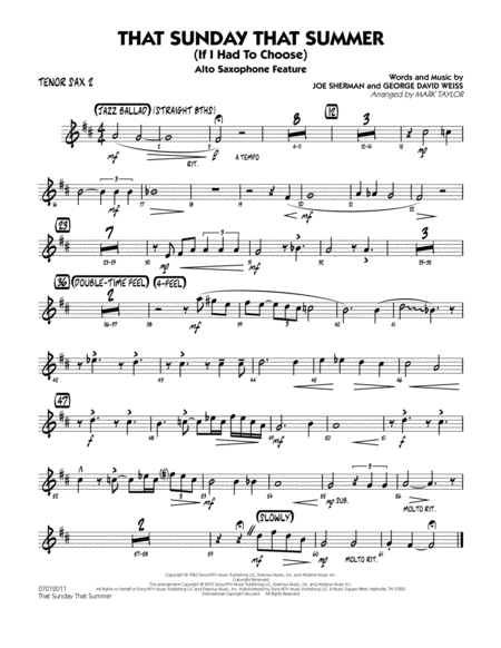 That Sunday That Summer (If I Had to Choose) - Tenor Sax 2