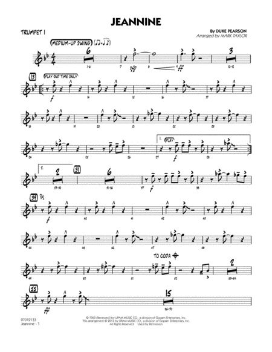 Jeannine - Trumpet 1
