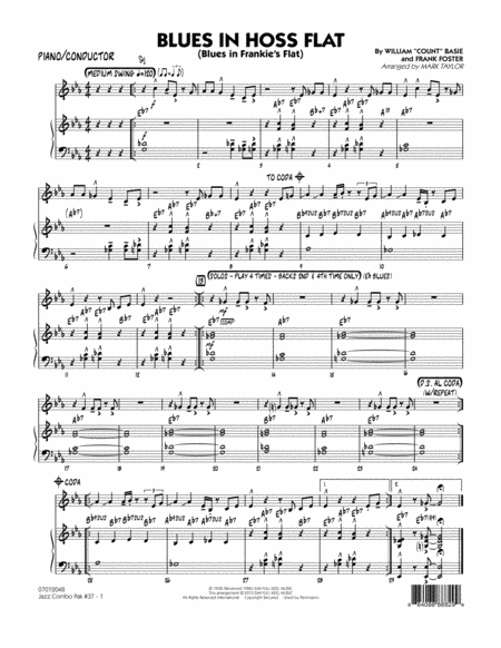 Jazz Combo Pak #37 (Count Basie) - Piano/Conductor Score